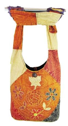 Hobo Bohemian Hippie Gypsy Peace Sign Flower Patched Embroidery Shoulder Sling Crossbody Cotton Handmade Purse Monk Bag Nepal