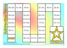 Simple board games where children move around the board and answer the subtraction number sentences. Math Stations, Math Centers, Key Stage 1 Maths, Fun Math, Math Games, Subtraction Games, Math Boards, Math School, Math Intervention