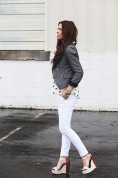Love this whole look.  printed blouse + fitted blazer + skinny jeans + platform wedges