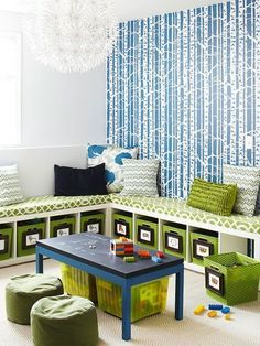 Playroom ideas - small section of room with the bench storage - closer to reading nook area may be good.