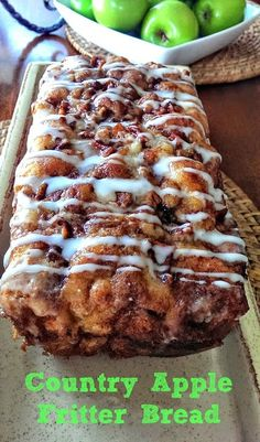 Awesome Country Apple Fritter Bread Awesome Country Apple Fritter Bread Recipe - Fluffy, buttery, white cake loaf loaded with chunks of apples and layers of brown sugar and cinnamon swirled inside and on top. Apple Fritter Recipes, Apple Fritter Bread, Apple Recipes, Fall Recipes, Bread Recipes, Gourmet Recipes, Baking Recipes, Apple Bread, Apple Cinnamon Bread