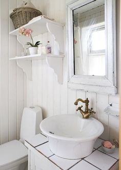 vintage interiors | #cottage #country #decor #white #shabby inspiration for the half bath