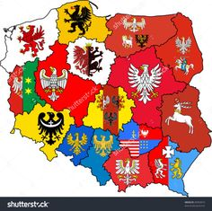 Poland in coat of arms of voivodeships Polish Heraldic Poland Map, Poland Travel, Polish Symbols, Poland History, Visit Poland, Polish Folk Art, 1 Tattoo, Flags Of The World, Arte Popular
