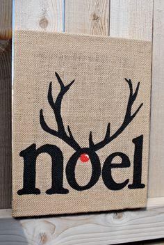 Rustic Rudolph Inspired 'Noel' Christmas Art by TLNCreations