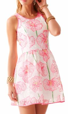 Lilly Pulitzer Darcelle Full Skirt Party Dress in Resort White Clover Cup- perfect for easter, graduation and spring celebrations