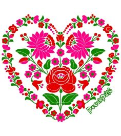 Kalocsai motívumok szív formában Embroidery Stitches, Embroidery Patterns, Hand Embroidery, Machine Embroidery, Gifs Ideas, Hungarian Embroidery, Flower Clipart, Fabric Paper, Heart Art