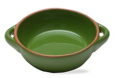 Small Round Terracotta Baker, Green.  Not a fan of green, but love this practical small bowl.