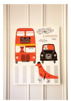 "London $55 16"" x 20"" silkscreen print, Wayne Pate"