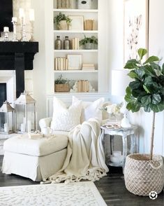 Slipcovered chair and ottoman, faux fiddle fix, bookshelf styling, pillows and tassel throw blanket, rustic chic decor Ottoman Decor, Chair And Ottoman, My Living Room, Living Room Decor, Slipcovers For Chairs, Reading Nook, Decoration, Farmhouse Decor, Family Room