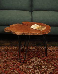 "Tress Logan Wood 24"" Natural Industrial Coffee Table - Harrington Galleries"