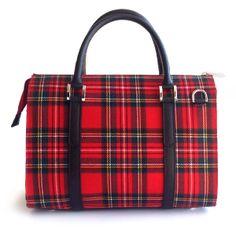 #Borsa #bauletto in pelle e tessuto fantasia scozzese rossa