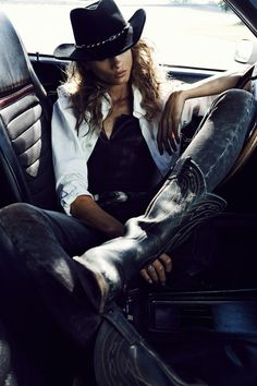 Anna Selezneva Rocks Biker Style for Vogue Paris November 2012 by Lachlan Bailey