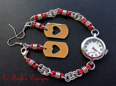 #Chainmaille #Watch In Deep Red With Heart Earrings To Match | Flickr - Photo Sharing!
