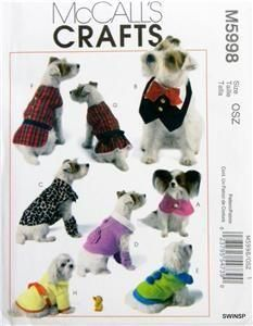 McCalls pattern 5998 DOG clothes pattern Small dog by LDPetDesigns Small Dog Clothes, Pet Clothes, Mccalls Patterns, Sewing Patterns, Sewing Ideas, Crochet Dog Sweater, Dog Clothes Patterns, Crochet Magazine, Dog Coats