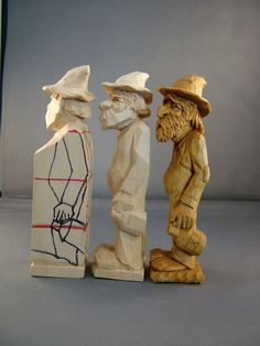 Profile view of Progressive steps for carving Hillbilly with jug ~ www.woodbeecarver.com
