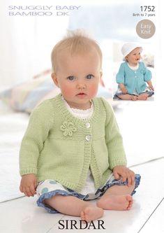Diy Crafts - Coats in Sirdar Snuggly Baby Bamboo DK - 1752 Sirdar Knitting Patterns, Beginner Knitting Patterns, Knitting For Kids, Knitting For Beginners, Baby Knitting, Crochet Baby, Knit Crochet, Baby Cardigan, Baby Pullover