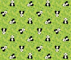 Panda Tumbles fabric, comes in blue and a soft orange