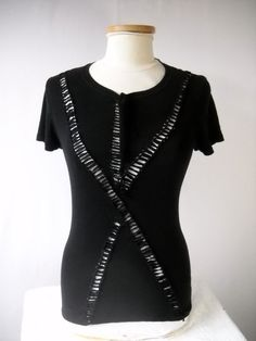 Women's Medium Black Emo, Altered, Cut up, Cut Out, Reconstructed Ripped Shirt. $28.00, via Etsy.