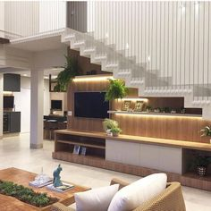 """Asian modern staircase design via Hey! See how to """"Step Up Your Staircase Game with This Modern Design Trend"""" Home Stairs Design, Modern House Design, Home Interior Design, Stair Design, Interior Colors, Living Room Under Stairs, Living Room Interior, Living Room Decor, Living Rooms"""