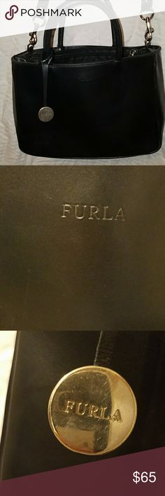 FURLA SATCHEL Absolutely beautiful Furla,  all-leather, made in Italy , sachel- silvertone Hardware.  handles are in great shape,  leather is in great shape there's some wear on the corners as shown,  there's a few scuffs on leather itself,  but all-in-all for a Furla bag this is a fantastic deal, would make any woman proud to tote this around. Also comes with a crossbody strap.. again remember it is a used bag please take a look at all pictures ask all questions before purchasing.. thank…