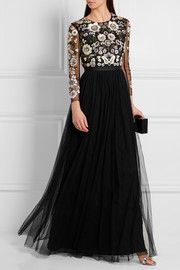 Needle & Thread - Open-back embellished tulle gown Long Tight Prom Dresses, Long Skirt Fashion, Dress Skirt, Dress Up, Tulle Gown, Gowns With Sleeves, Stunning Dresses, Dance Dresses, Dress To Impress