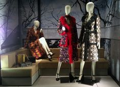 "PRADA,5th Avenue, New York,""branches and fur-trimmed fashions on display for all to see this Autumn"", pinned by Ton van der Veer"