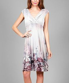 This Gray & Red Floral Surplice Dress - Plus Too is perfect! #zulilyfinds
