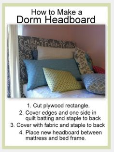 Been wondering how students make those beautiful and creative headboards for their beds? Here's one DIY method to use.