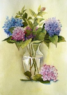 """Studio Hydrangeas"" watercolor © Siv Spurgeon (sold)"