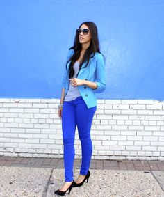 Styling Cobalt Blue Pants - The Style Contour  how to wear blue, how to wear…