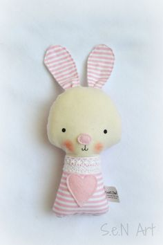 Soft Baby Rattle Bunny fabric Ratlle Bunny Rattle Soft by SenArt1