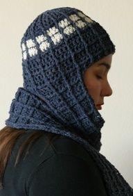 2 PDF Crochet Patterns, TARDIS Doctor Who inspired beanie w scarf & pocket cozy, All sizes, DIY epattern, Sci Fi Fantasy Geekery. $6.50, via Etsy.
