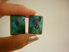 Enamel on Copper Earrings 60s Studio Craft screw-backs Galaxy Design