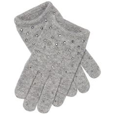 Portolano Women's Gloves - Light/Pastel Grey ($59) ❤ liked on Polyvore featuring accessories, gloves, grey gloves, portolano, portolano gloves, rabbit gloves and sequin glove