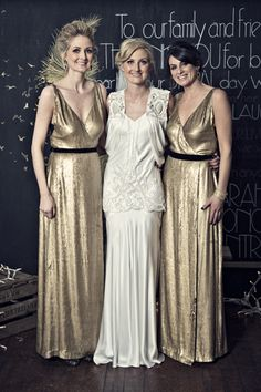 Gold bridesmaids and a beautiful Sanyukta Shrestha bridal gown captured by Doreen Kilfeather | onefabday.com
