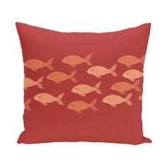 Golden Lakes Fish Line Coastal Outdoor Throw Pillow