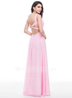 A-Line/Princess V-neck Floor-Length Chiffon Tulle Prom Dress With Ruffle Beading Appliques Lace Sequins (018059412) - JJsHouse
