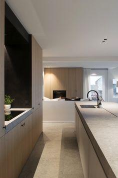 Versatile Office for Architecture & Interior Design led by Hannes Decancq & Emilie Otté. Minimal Kitchen Design, Interior Design Kitchen, Kitchen Decor, Kitchen Living, Living Room, Küchen Design, Home Design, Home Decor Trends, Home Decor Inspiration