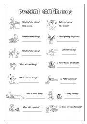 English worksheet: Present Continuous