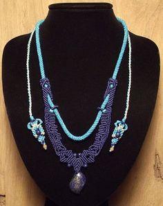 Macrame jewelry necklace with lapis lazuli by Mabutirat on Etsy