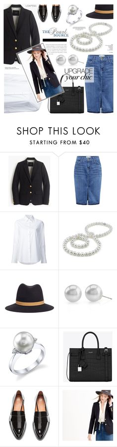 """""""The Pearl Source 16"""" by anyasdesigns ❤ liked on Polyvore featuring J.Crew, Current/Elliott, Misha Nonoo, Janessa Leone, Yves Saint Laurent and Tiffany & Co."""