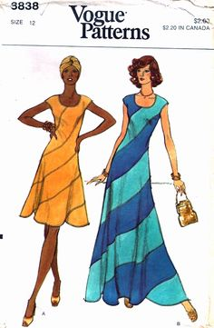 Vogue 8838 circa 1974 dress with swirl skirt