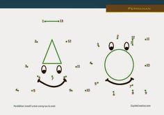 belajar anak, membaca sambil menghitung, dot to dot huruf A