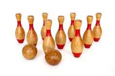 Vintage Skittles Game  Wood 9 Pin Bowling by HappyFortuneVintage