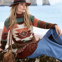 Схема и описание вязания на спицах свитера в этническом стиле из журнала «Вязание. Мое любимое хобби» №9/2015