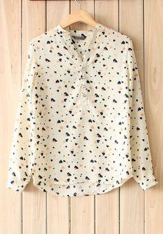 V-neck, long sleeve, heart print chiffon blouse in black, peach, and cream/ivory