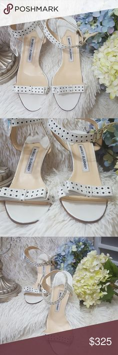 *MANOLO BLAHNIK* HEELS SANDALS POLKA DOT BOW SHOE *MANOLO BLAHNIK* HEELS SANDALS POLKA DOT BOW SHOE size 36.5  These gorgeous heels have normal wear only used a  couple times in amazing condition!!!   White Leather with black polka dots. Bow on the toe strap also has ankle strap Heel height = 3.5 inches Size = 36.5 they run small and narrow.   *Don't FORGET TO CHECK OUT MY OTHER DESIGNER ITEMS FOR SALE AND MAKE ME SOME OFFERS!!!  SMOKE FREE HOME/I SHIP RIGHT AWAY! Manolo Blahnik Shoes