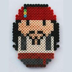 Chibi Bean Pirates of the Caribbean Jack Sparrow perler beads by ThePlayfulPerler on deviantart Perler Beads, Perler Bead Art, Fuse Beads, Pearler Bead Patterns, Perler Patterns, 8bit Art, Art Disney, Melting Beads, Beaded Cross Stitch
