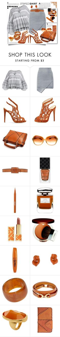 """Striped Shirt"" by marionmeyer ❤ liked on Polyvore featuring Alexandre Birman, Oliver Peoples, Angelo Marani, Gucci, Stila, By Terry, Tory Burch, Clinique, Rimmel and Tiffany & Co."