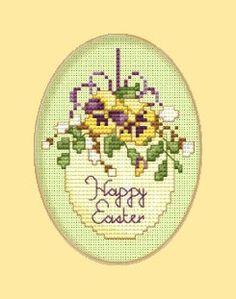 Osterkarte mit Stiefmütterchen bestickt - kostenlose Stickvorlage